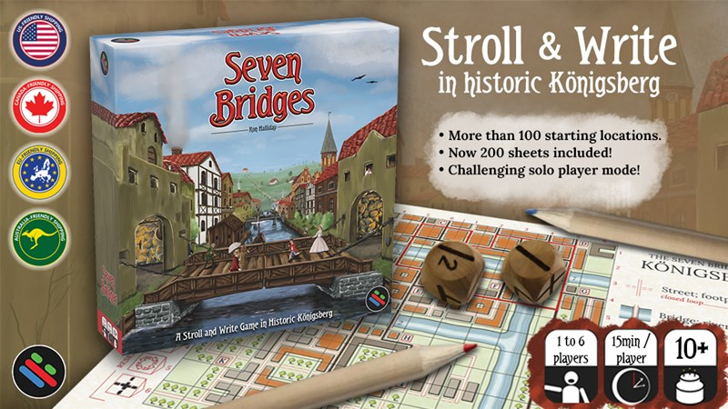 Seven Bridges Roll and Write Game Up On Kickstarter