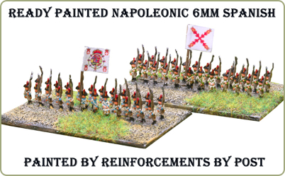 Two 6mm Baccus miniatures Spanish battalions painted by Reinforcements by Post