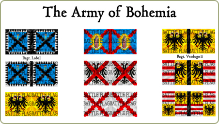 flags of Bohemia and Sweden for the Thirty Years War