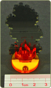 Flaming Wreckage Markers with Hit Point Dials