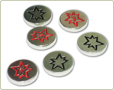 Pewter action tokens