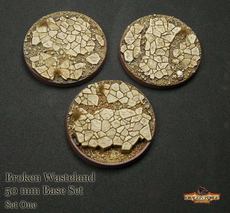 50 mm Broken Wasteland set of three bases