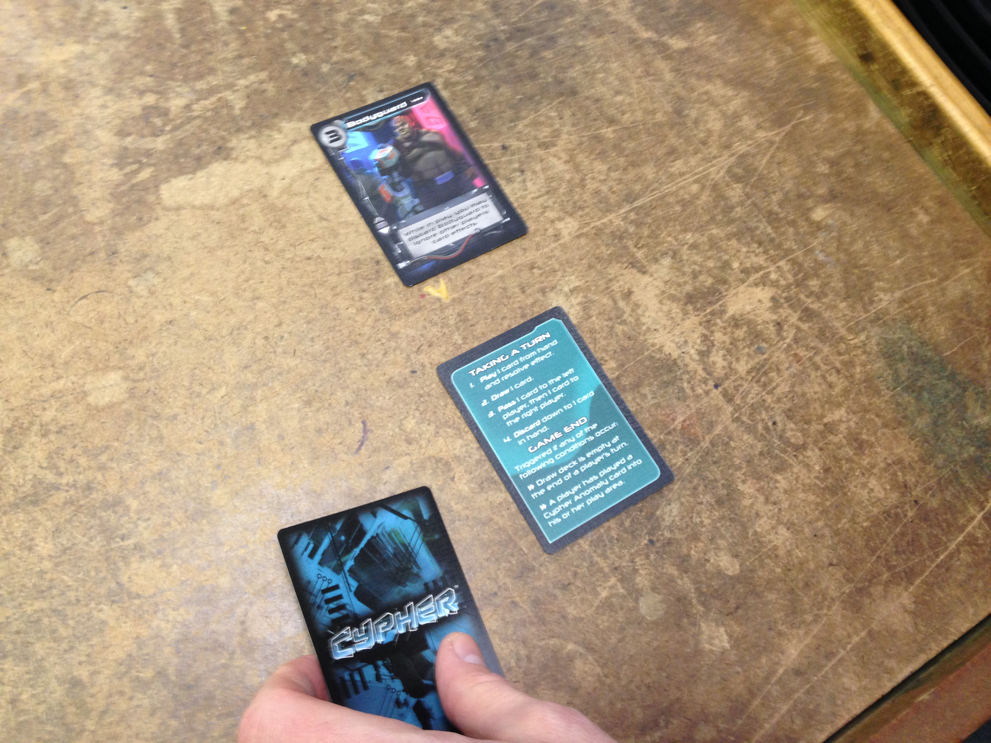 Passing cards is an important part of the gameplay.