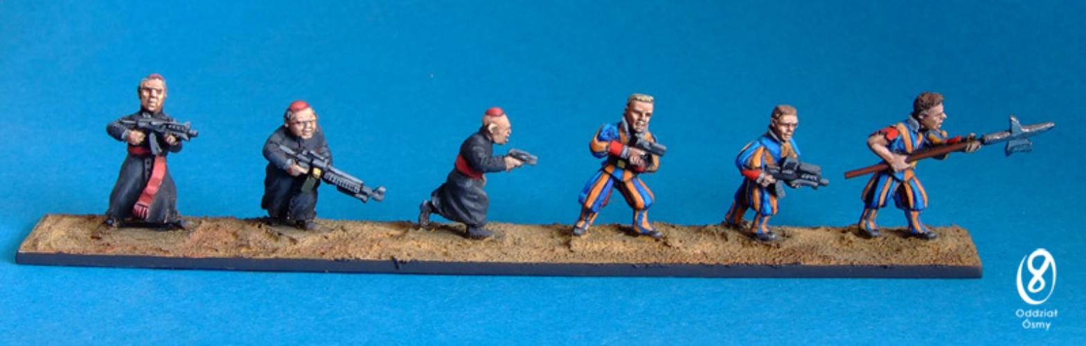 'Troubles in New Vatican' (6 pcs) A little crazy set of three armed bishops (yes!) and three Swiss Guard members. The set can be used as zombie survivors and many other possibilities