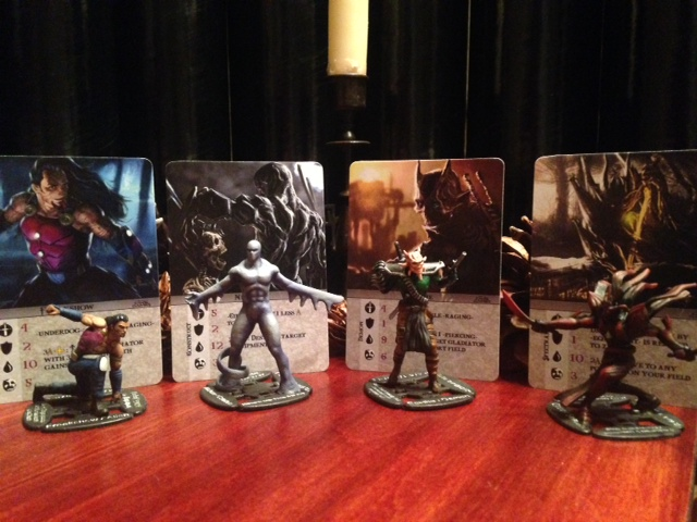 4 of the Ophidian Wars gladiators with cards and minis