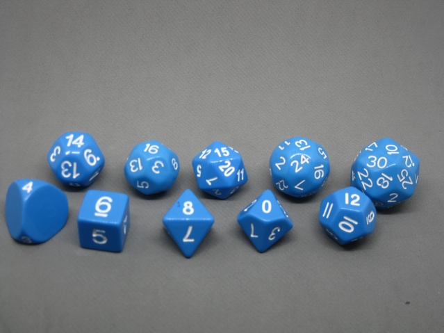 An all blue specialty tiered dice set