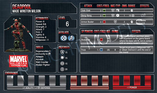 Deadpool Stat Card Previewed For Marvel Universe Miniatures