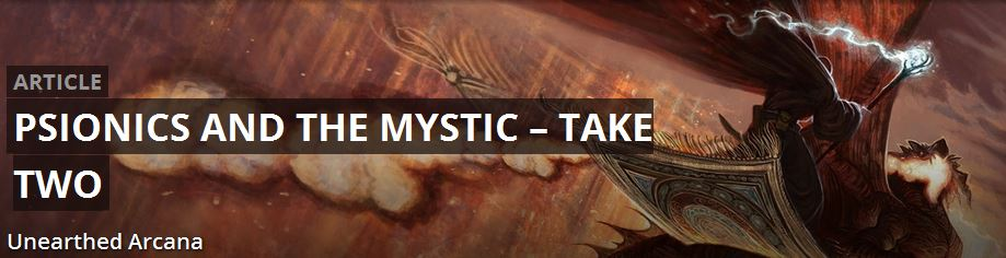 Psionics In This Issue of Unearthed Arcana - Tabletop Gaming