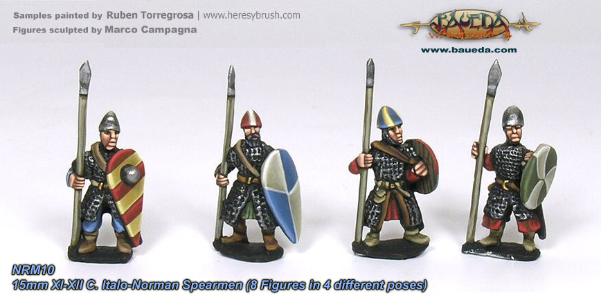 15mm XI-XII C. Norman armoured Pedites or dismounted Milites with spear