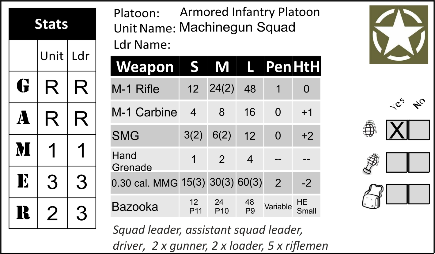 Armoured Inf Pltn MMG