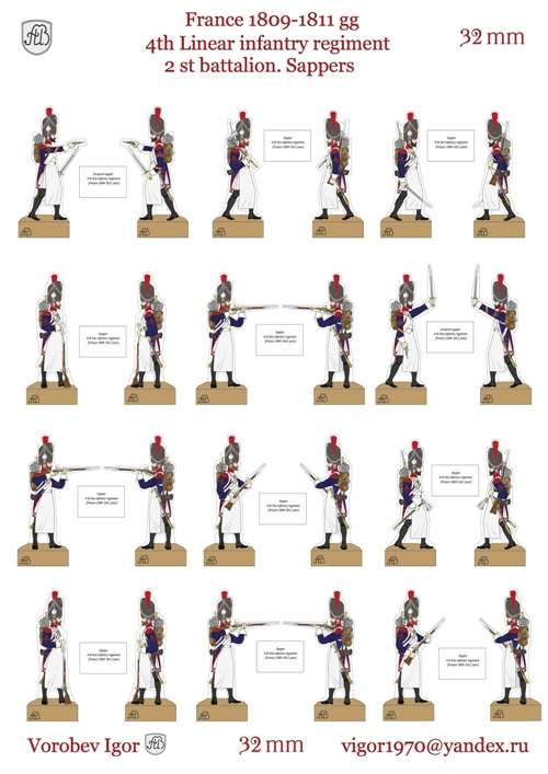 32 mm. French Fourth Line Infantry Regiment - Second Battalion - Sappers - Years 1809-1811