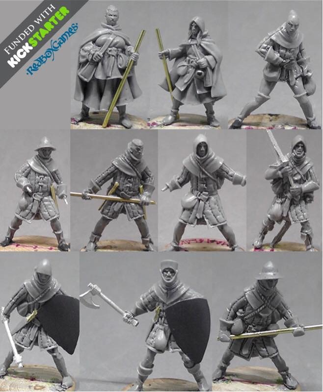 Work in progress sculpts of the warband including Traveling Female Mage, Traveling Apprentice, Female thief and semi modular footmen