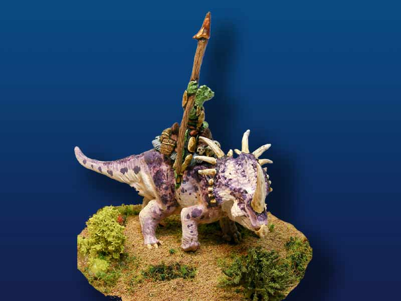 Styracosaurus with Saurian Rider (pewter)
