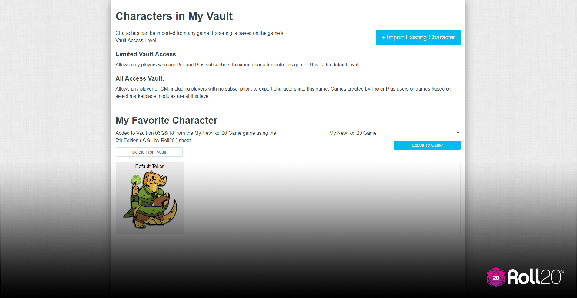 Character Vault Screenshot